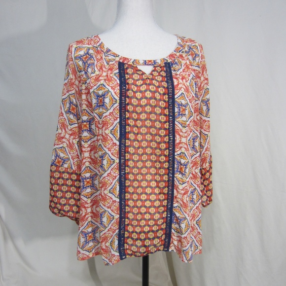 New Directions Tops - New Directions Size Med Bright Print Top